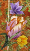 Blooms Tapestries - Textiles - Tulips in the field by Judy Sauer