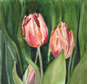 Father Christmas Paintings - Tulips  by Irina Sztukowski