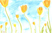Watercolor Pastels Originals - Tulips by Jackie Novak