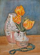 Floral Still Life Originals - Tulips Jade and Books by Jenny Armitage