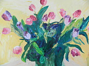 Oil On Masonite Posters - Tulips Poster by Kat Kemm