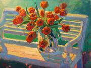 Robert Lewis Prints - Tulips on a Garden Bench Print by Robert Lewis