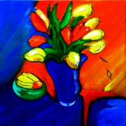 Yellow Bananas Paintings - Tulips On My Table by Gloria Dietz-Kiebron
