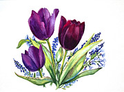 Purple Tulip Paintings - Tulips by Patricia Allingham Carlson