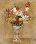 Red Flower Paintings - Tulips by Pierre Auguste Renoir