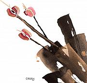 Sumi-e Paintings - Tulips Three by Casey Shannon