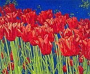 Floral Drawings - Tulips Tulip Flowers Fine Art Print Giclee High Quality Exceptional Color Garden Nature Botanical by Baslee Troutman Fine Art Prints Gifts