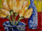 Tulips With Blue Bottle Print by Windi Rosson