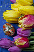 Hand Painted Framed Prints - Tulips with Easter egg Framed Print by Garry Gay