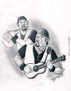 Acoustic Guitar Drawings - Tulls Ian Anderson Two Views by David  Koukol