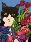 Anni Morris Art - Tullulah and Tulips by Anni Morris