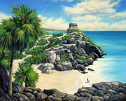 Mayan Paintings - Tulum Ruins Mexico by Vickie Fears