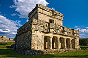 Archeology Posters - Tulum Temple Poster by Meirion Matthias