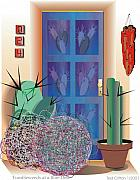 Ted Clifton Art - Tumbleweeds at a Blue Door by Ted Clifton
