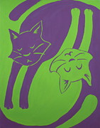 Reversible Framed Prints - Tumbling Cats Framed Print by Kimberly Smith
