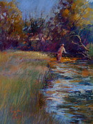 Flyfishing Pastels Posters - Tumbling Waters Poster by Pamela Pretty
