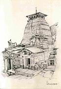 Tourism Drawings Prints - Tungnath Print by Padamvir Singh