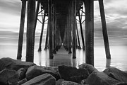 Pier Photos - Tunnel of Light - Black and White by Larry Marshall