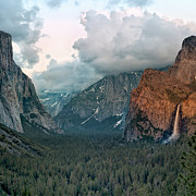 Falls Art - Tunnel View Yosemite; Clouds Obscuring Half Dome by Trina Dopp Photography