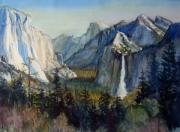 Half Dome Painting Prints - Tunnel View Yosemite Valley Print by Howard Luke Lucas