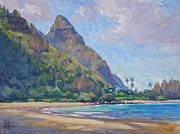 Hanalei Framed Prints - Tunnels Beach Framed Print by Jenifer Prince