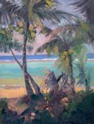 Tunnels Beach Prints - Tunnels Beach Palms Print by Cynthia Riedel