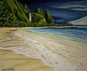 Tunnels Beach Prints - Tunnels Beach Print by Robert Thornton