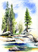 Watercolor  Drawings Posters - Tuolumne River on an August afternoon Poster by Logan Parsons