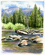 Meadows Drawings - Tuolumne River with Mammoth Peak by Logan Parsons