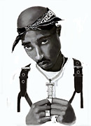 Hip Drawings - Tupac 3 by Arthur Thompson