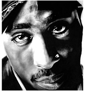 Bdcurran Drawings - Tupac by Brian Curran