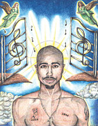 White Drawings Posters - Tupac in Heaven Poster by Debbie DeWitt