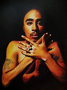 Gangster Pastels Framed Prints - Tupac Framed Print by Mandy Thomas