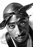 Hip Painting Framed Prints - Tupac Shakur Framed Print by Ylli Haruni