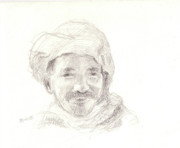 Figure Study Drawings Prints - Turban-clad Print by Sharmila L