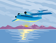 Airline Framed Prints - Turbo Jet Plane Retro Framed Print by Aloysius Patrimonio