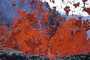 Volcanoes Prints - Turbulent Lava Spews From A New Cone Print by Carsten Peter