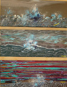 Lisa Kramer Mixed Media - Turbulent Muse Tryptic by Lisa Kramer