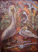 Group Of Birds Originals - Turf by Claire Sallenger Martin