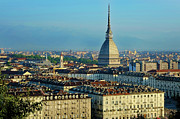 Turin Prints - Turin, Cityscape With The Mole Antonelliana Print by Bruno Morandi