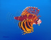Lionfish Paintings - Turkey Lionfish by Michael Allen