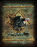 Hunting Cabin Metal Prints - Turkey Lodge Metal Print by JQ Licensing