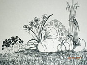 Turkey Drawings Metal Prints - Turkey resting Metal Print by Laura Collins