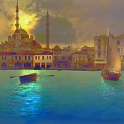 Water Canvas Posters - Turkish  Moonlight Poster by Seema Sayyidah