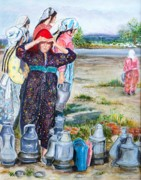 Turkish Paintings - Turkish village women with water jugs by Pamir Thompson