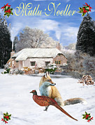 Greetings Card - Turkish  Winter Garden Fox and Pheasant by Eric Kempson