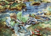 Calm Waters Posters - Turkish Woman by a Stream Poster by John Singer Sargent