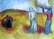 Standing Pastels Posters - Turkish Women with Wheat Poster by Yvette Rolufs