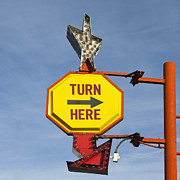 Directional Posters - Turn Here Sign Poster by Paul Edmondson