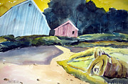 Haybales Painting Prints - Turn In The Road Print by Charlie Spear